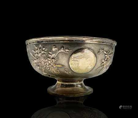 A Chinese silver footed bowl, signed ZEEWO, (1870-1930), Shanghai, the body decorated with a plain