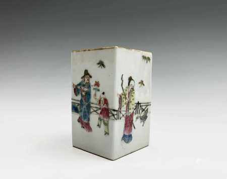 A Chinese famille rose porcelain square brush pot, 19th century, the garden scene with figures,