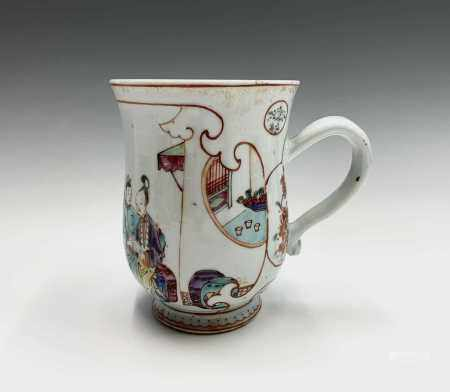 A Chinese famille rose export porcelain mug, 18th century, depicting an interior scene with a