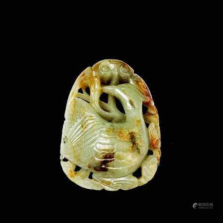 A Chinese carved & reticulated celadon jade ornament, depicting a bird & lingzhi, with russet