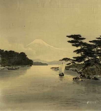 A Japanese birodo yuzen cut velvet painting of Mount Fuji, framed and glazed, frame size 97 x 92cm.