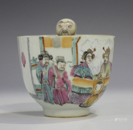 A Chinese famille rose porcelain bowl with integral 'pop-up' figure, mark of Tongzhi but probably