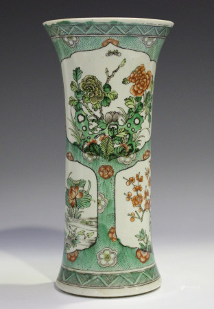 A Chinese famille verte porcelain beaker vase, Kangxi style but late 19th century, painted with five