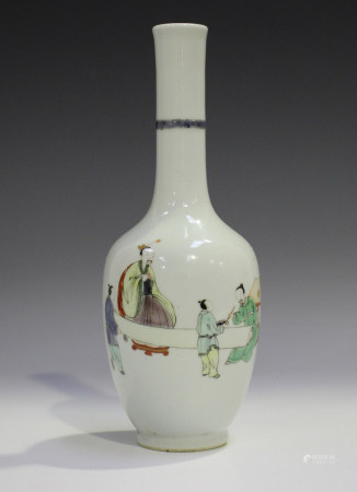 A Chinese famille verte porcelain bottle vase, probably 20th century, the tapered ovoid body painted