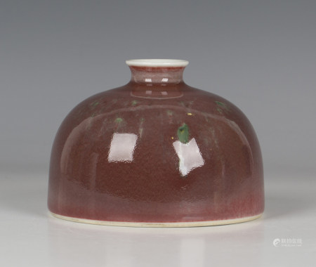 A Chinese peach bloom glazed porcelain beehive water pot (taibaizun), mark of Kangxi but 20th