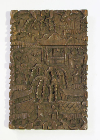 A Chinese Canton export sandalwood rectangular card case and cover, mid to late 19th century, carved