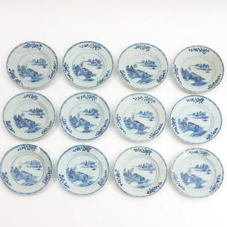 A Series of 12 Blue and White Plates