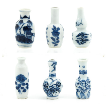 A Collection of 6 Miniature Vases