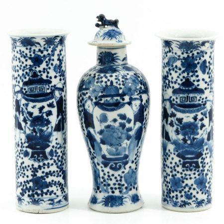 A Set of 3 Garniture Vases