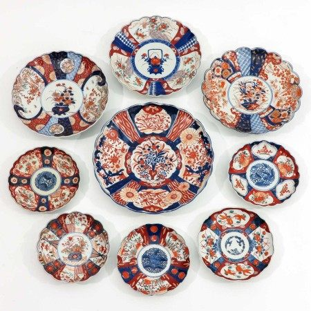 A Collection of 9 Japanese Plates