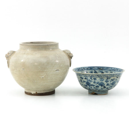 A Stoneware Vase and Ming Bowl