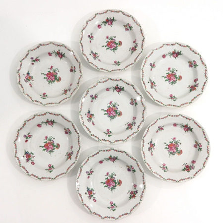A Series of 7 Famille Rose Plates