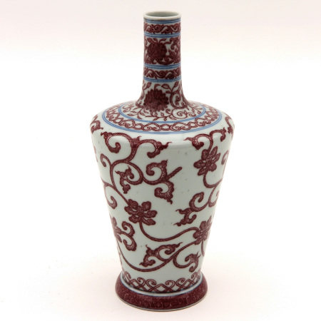A Iron Red and Blue Vase