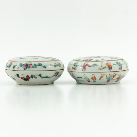 Two Round Boxes and Covers
