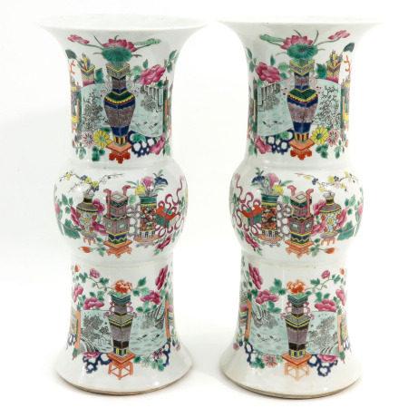 A Pair of Famille Rose Yen Yen Vases