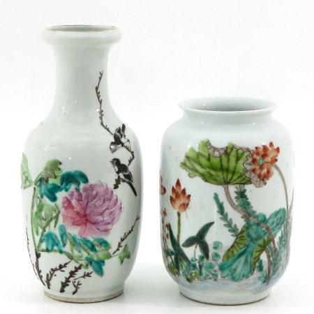 Two Famille Rose Vases