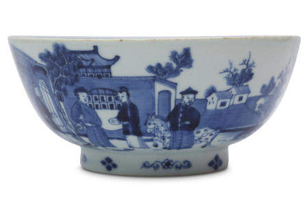 A CHINESE BLUE AND WHITE 'LANDSCAPE' BOWL.