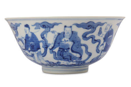 † A CHINESE BLUE AND WHITE 'IMMORTALS' BOWL.