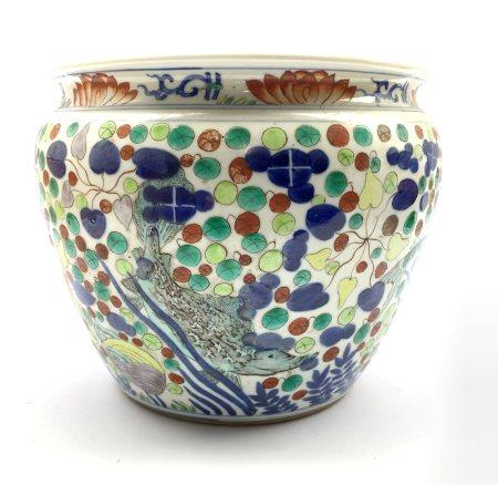 20th century Chinese Doucai porcelain jardini�re decorated with fish and shrimp amidst aquatic plant