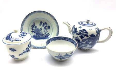 18th century and later Chinese porcelain including a teapot, shallow bowl and bowl together with a 1