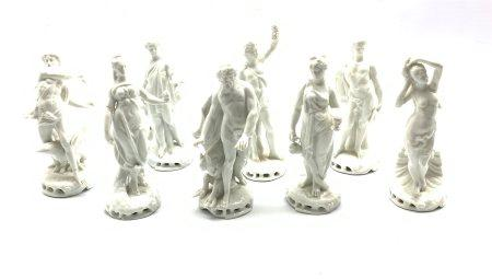 Set of eight Naples Blanc de Chine figures depicting classical gods and goddesses, H14.5cm (8)