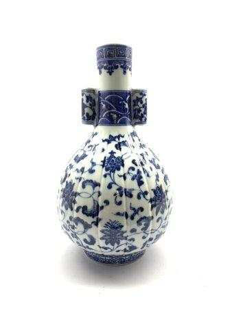 Chinese baluster vase decorated in blue and white with cylindrical handles H28cm, Daoguang mark but