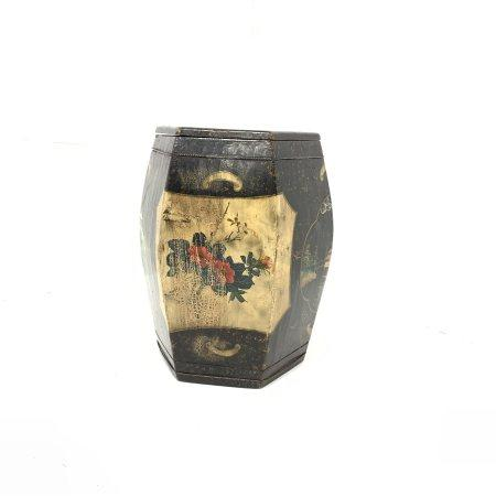 Oriental wooden barrel shape container of hexagonal design with removeable lid and painted with land