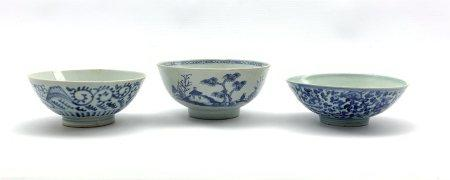 Nanking Cargo bowl with Christie's Lot 3067 label to base D15cm, Chinese Ming blue and white bowl an
