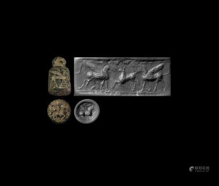 Western Asiatic Urartu Cylinder Stamp Seal with Sphinxes