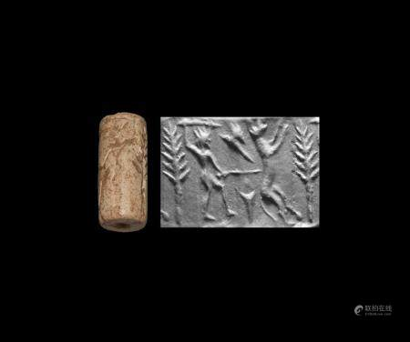 Large Western Asiatic Cylinder Seal with Combat Scene