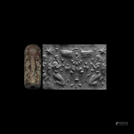 Western Asiatic Cylinder Seal with Kneeling Figures