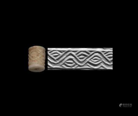 Western Asiatic Diyala Valley Cylinder Seal with Guilloche