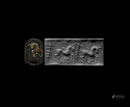 Western Asiatic Neo-Assyrian Cylinder Seal with Horses