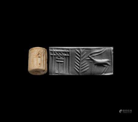 Western Asiatic Jemdet Nasr Type Cylinder Seal with Temple
