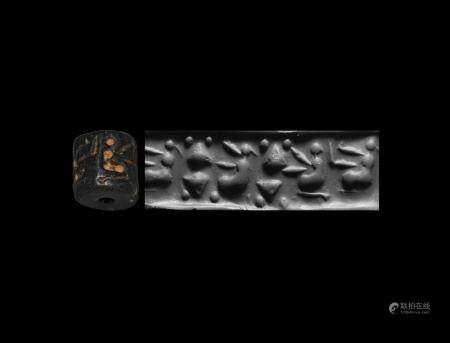 Western Asiatic Jemdet Nasr Type Cylinder Seal with Seated Women