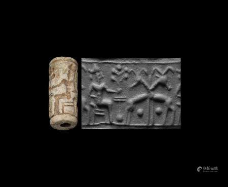 Western Asiatic Mitanni Cylinder Seal with Man Holding Sacred Tree