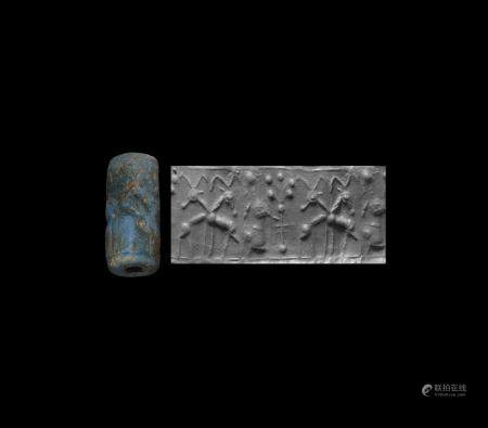 Western Asiatic Mitanni Cylinder Seal with Animals, Humans and Tree