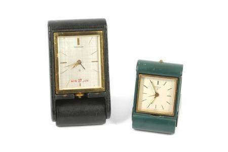 AN EIGHT DAY JAEGER LECOULTRE TRIPLE CALENDAR TRAVEL ALARM CLOCK