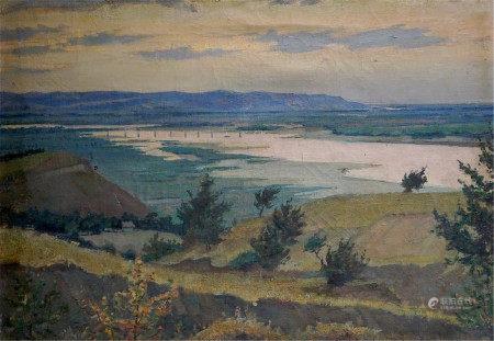 KOSHEVOY VICTOR IVANOVICH Oil painting Evening landscape