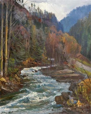 SHUTEV IVAN MIKHAILOVICH Oil painting Spring in the Carpathians
