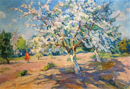 KERZHNER ALEXANDER HASKELEVICH Oil painting Blooming garde