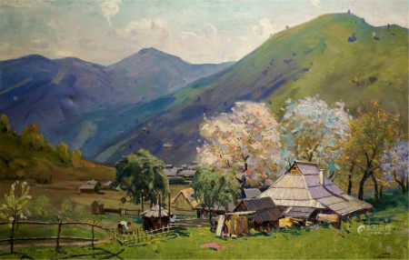 TYUKHA IVAN ANDREEVICH Oil painting Hut in the mountains