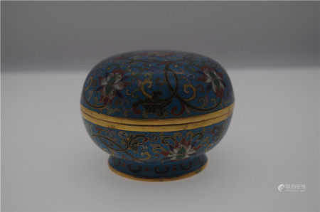 CHINESE CLOISONNE FLOWER ROUND LIDDED BOX