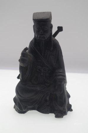 CHINESE HARDWOOD SEATED MAN WITH SWORD