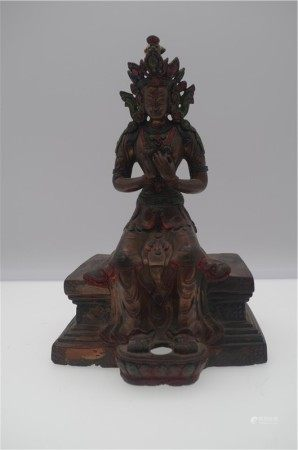 CHINESE BRONZE SEATED GUANYIN ON STAND