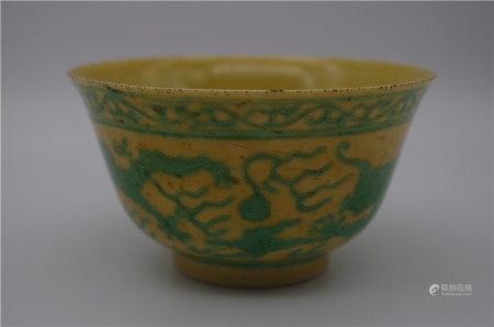 CHINESE PORCELAIN YELLOW GLAZE GREEN DRAGON CUP