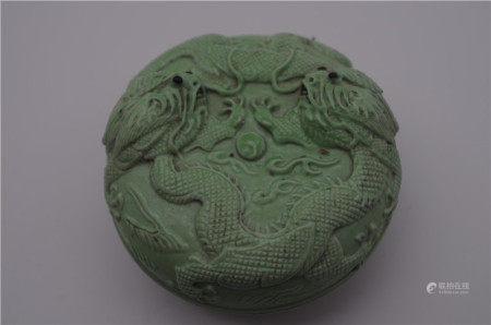 CHINESE PORCELAIN TURQUOISE GLAZE DRAGON LIDDED ROUND BOX