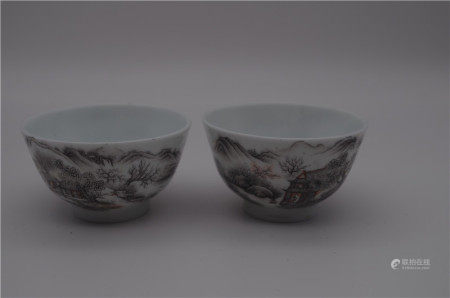 PAIR OF CHINESE PORCELAIN INK PAINTED MOUNTAIN VIEWS CUPS