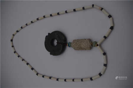 CHINESE ANCIENT JADE BEAD NECKLACE