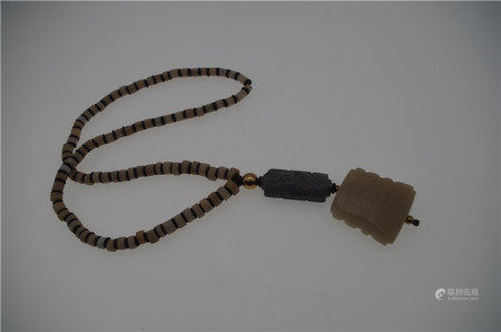 CHINESE WHITE JADE BEAD NECKLACE